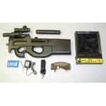 P90 automatas su duslintuvu, kolimatoriniu taikikliu bei taikiniu