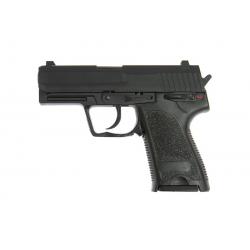 USP pistoletas su metalinėmis dalimis su judančiu gaiduku, sunkus