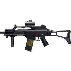 Vienašūvis airsoft šautuvas H&K G36C su kolimatoriumi, duslintuvu, rankenėle