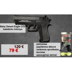 Baby Desert Eagle CO2 rinkinys - pistoletas, 2 dėtuvės, šoviniai, akiniai, priedas rankenai