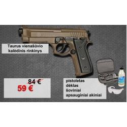 Taurus vienašūvio rinkinys - pistoletas, dėklas, šoviniai, akiniai